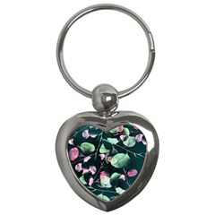 Modern Green And Pink Leaves Key Chains (heart)  by DanaeStudio