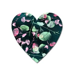 Modern Green And Pink Leaves Heart Magnet by DanaeStudio