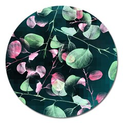 Modern Green And Pink Leaves Magnet 5  (round) by DanaeStudio