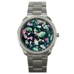 Modern Green And Pink Leaves Sport Metal Watch by DanaeStudio