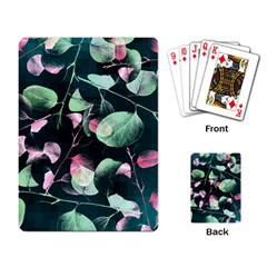 Modern Green And Pink Leaves Playing Card by DanaeStudio