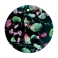Modern Green And Pink Leaves Round Ornament (two Sides)  by DanaeStudio