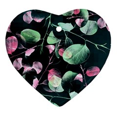 Modern Green And Pink Leaves Heart Ornament (2 Sides) by DanaeStudio