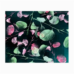 Modern Green And Pink Leaves Small Glasses Cloth (2 Side) by DanaeStudio