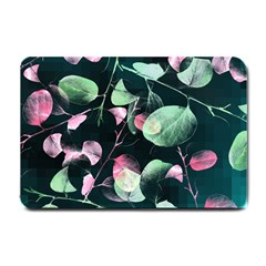 Modern Green And Pink Leaves Small Doormat  by DanaeStudio