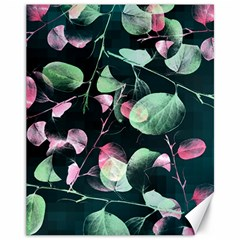 Modern Green And Pink Leaves Canvas 11  X 14   by DanaeStudio