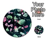Modern Green And Pink Leaves Multi-purpose Cards (Round)