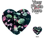 Modern Green And Pink Leaves Multi-purpose Cards (Heart)
