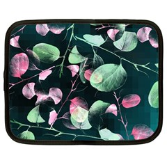 Modern Green And Pink Leaves Netbook Case (large) by DanaeStudio