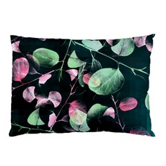 Modern Green And Pink Leaves Pillow Case by DanaeStudio