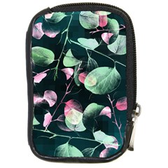 Modern Green And Pink Leaves Compact Camera Cases by DanaeStudio