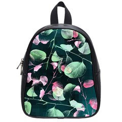 Modern Green And Pink Leaves School Bags (small)  by DanaeStudio