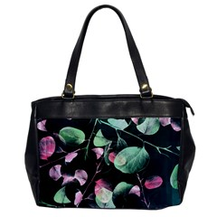 Modern Green And Pink Leaves Office Handbags by DanaeStudio