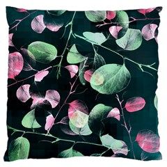 Modern Green And Pink Leaves Large Cushion Case (two Sides) by DanaeStudio