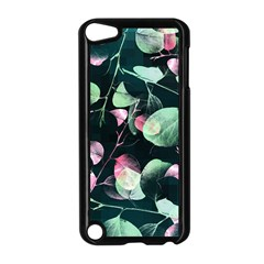Modern Green And Pink Leaves Apple Ipod Touch 5 Case (black) by DanaeStudio