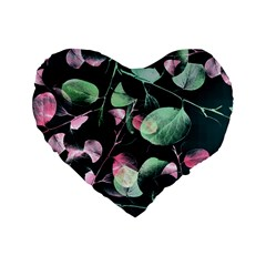 Modern Green And Pink Leaves Standard 16  Premium Heart Shape Cushions by DanaeStudio