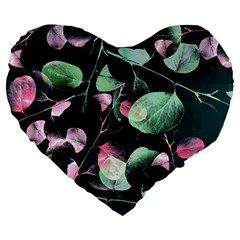 Modern Green And Pink Leaves Large 19  Premium Heart Shape Cushions by DanaeStudio