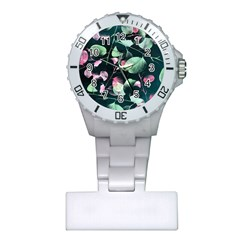 Modern Green And Pink Leaves Plastic Nurses Watch by DanaeStudio