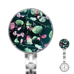 Modern Green And Pink Leaves Stainless Steel Nurses Watch by DanaeStudio