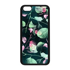 Modern Green And Pink Leaves Apple Iphone 5c Seamless Case (black) by DanaeStudio