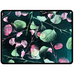 Modern Green And Pink Leaves Double Sided Fleece Blanket (large)  by DanaeStudio