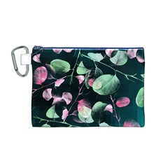 Modern Green And Pink Leaves Canvas Cosmetic Bag (m) by DanaeStudio