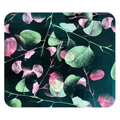 Modern Green And Pink Leaves Double Sided Flano Blanket (small)  by DanaeStudio