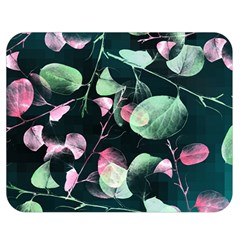 Modern Green And Pink Leaves Double Sided Flano Blanket (medium)  by DanaeStudio
