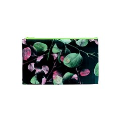 Modern Green And Pink Leaves Cosmetic Bag (xs) by DanaeStudio