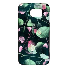 Modern Green And Pink Leaves Galaxy S6 by DanaeStudio