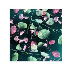 Modern Green And Pink Leaves Small Satin Scarf (square)  by DanaeStudio