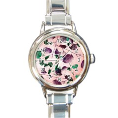 Spiral Eucalyptus Leaves Round Italian Charm Watch by DanaeStudio