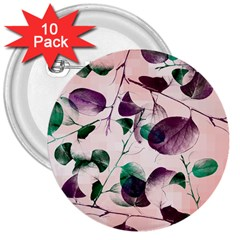 Spiral Eucalyptus Leaves 3  Buttons (10 Pack)  by DanaeStudio