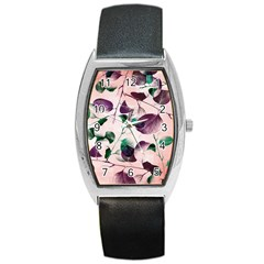 Spiral Eucalyptus Leaves Barrel Style Metal Watch by DanaeStudio