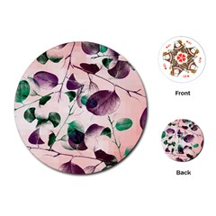 Spiral Eucalyptus Leaves Playing Cards (round)  by DanaeStudio