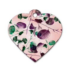 Spiral Eucalyptus Leaves Dog Tag Heart (two Sides) by DanaeStudio