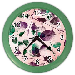 Spiral Eucalyptus Leaves Color Wall Clocks by DanaeStudio