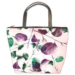 Spiral Eucalyptus Leaves Bucket Bags by DanaeStudio
