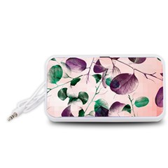 Spiral Eucalyptus Leaves Portable Speaker (White)  by DanaeStudio