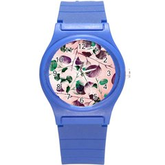 Spiral Eucalyptus Leaves Round Plastic Sport Watch (s) by DanaeStudio