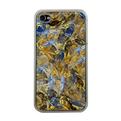 Antique Anciently Gold Blue Vintage Design Apple Iphone 4 Case (clear) by designworld65