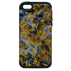 Antique Anciently Gold Blue Vintage Design Apple Iphone 5 Hardshell Case (pc+silicone) by designworld65