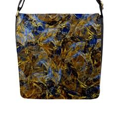 Antique Anciently Gold Blue Vintage Design Flap Messenger Bag (l)  by designworld65