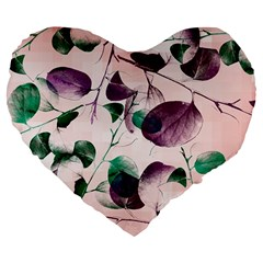 Spiral Eucalyptus Leaves Large 19  Premium Flano Heart Shape Cushions by DanaeStudio