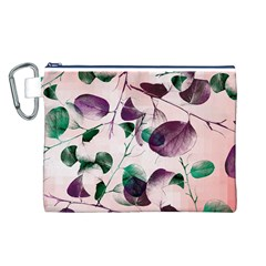 Spiral Eucalyptus Leaves Canvas Cosmetic Bag (l) by DanaeStudio