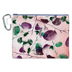 Spiral Eucalyptus Leaves Canvas Cosmetic Bag (xxl) by DanaeStudio