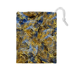 Antique Anciently Gold Blue Vintage Design Drawstring Pouches (large)  by designworld65