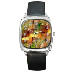 Indian Summer Funny Check Square Metal Watch by designworld65