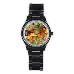 Indian Summer Funny Check Stainless Steel Round Watch by designworld65