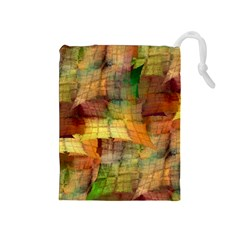 Indian Summer Funny Check Drawstring Pouches (medium)  by designworld65